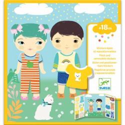 Djeco Přemístitelné samolepky pro nejmenší Oblečení