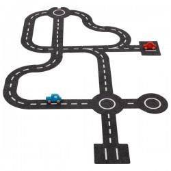 Dráha pro autíčka z filce + 2 autíčka