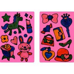 Okenní barvy - 6x třpytivé tužky - holčičky
