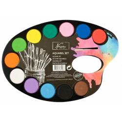Akvarelové barvy - paleta 12 barev + štětec