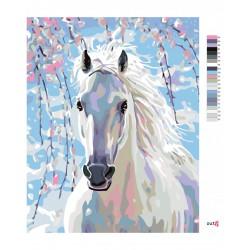 Malování podle čísel - Bílý kůň, na rámu