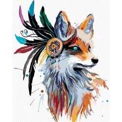 Malování podle čísel - Indiánská liška, na rámu