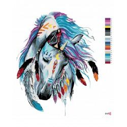 Malování podle čísel - Indiánský kůň, bez rámu
