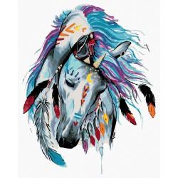 Malování podle čísel - Indiánský kůň, na rámu