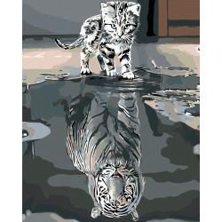 Malování podle čísel - Kotě nebo tygr, na rámu