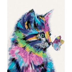Malování podle čísel - Kočička s motýlkem, bez rámu