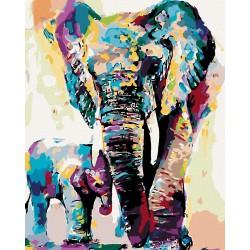 Malování podle čísel - Malovaní sloni, na rámu