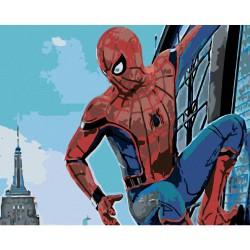 Malování podle čísel - Spiderman ve městě, bez rámu