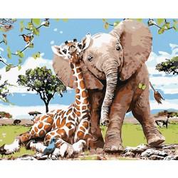 Malování podle čísel - Žirafa a sloník, na rámu