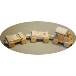 Dřevěný vláček se dvěma vagóny