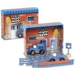 Dřevěné autíčka v boxu - Policie