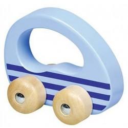 Dřevěné autíčko - modré pruhy