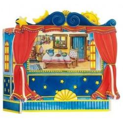 Dřevěné divadlo pro prstové maňásky včetně kulis