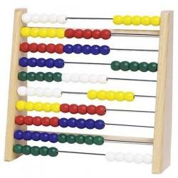 Počítadlo se 100 dřevěnými perličkami a s kovovými drátky