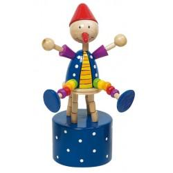 Mačkací figurka – Cvičící klaun na modrém podstavci