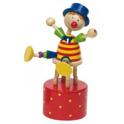 Mačkací figurka – Cvičící klaun na červeném podstavci