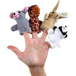 Sada prstových maňásků - zajíc, myšák, medvěd, žirafa