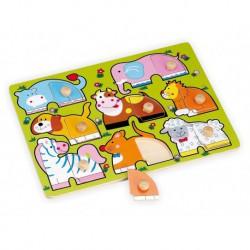 Dřevěné puzzle s úchyty Zvířátka