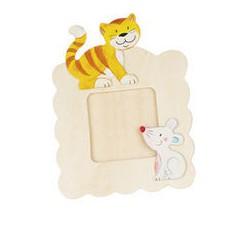 Dřevěný rámeček na fotky k vymalování - Kočka
