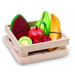 Dřevěná bedýnka s ovocem