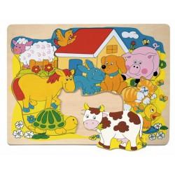 Puzzle na desce - Veselá domácí zvířátka