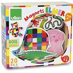 Dřevěné magnetky slon Elmer 20ks