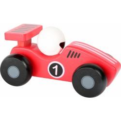 Dřevěné závodnické autíčko - červené