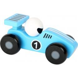 Dřevěné závodnické autíčko - modré