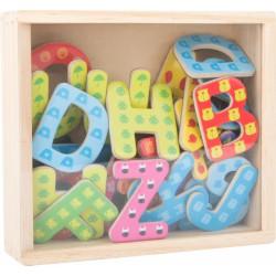 Magnetky dřevěné abeceda 37 ks