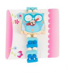 Dětské dřevěné hodinky Sova - modré