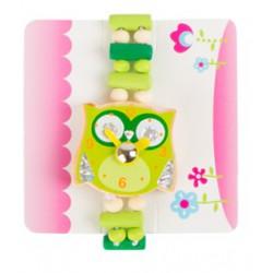 Dětské dřevěné hodinky Sova - zelené