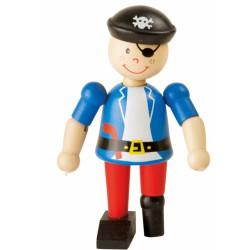 Dřevěná hračka do ruky Pirát - modrý