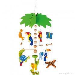 Palma a exotická zvířátka – závěsná dekorace ze dřeva