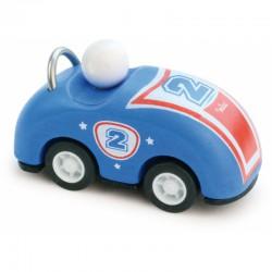 Dřevěné závodní auto kabriolet zpětný chod - modré