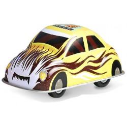 Veselé kovové autíčko - žluté