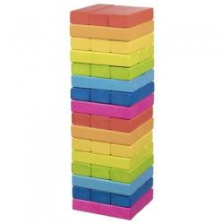 Zábavná hra – Dřevěná věž Jenga duhová, 48 dílů