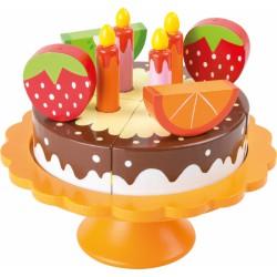 Dřevěný narozeninový ovocný dort