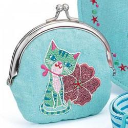Set kabelka a peněženka Modrá kočička