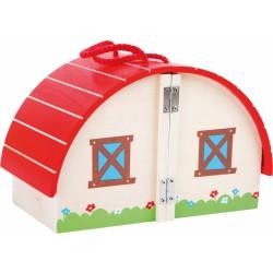 Dřevěná farma s červenou střechou
