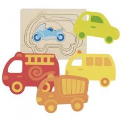 Vícevrstvé puzzle – Dopravní prostředky, 5 dílů