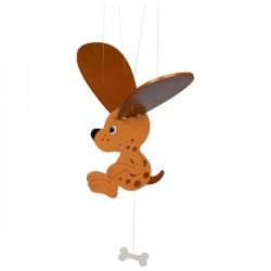 Létající závěsná dekorace Strakatý pejsek s kostičkou
