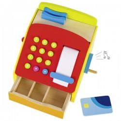 Dětská dřevěná pokladna s kličkou a zvonkem