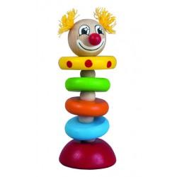 Dřevěný klaun na gumě