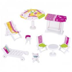 Goki Zahradní nábytek pro panenky – Susibelle, 9 dílů