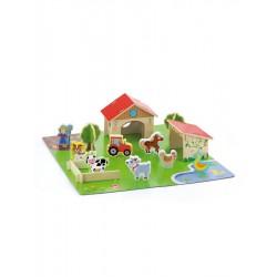 Dřevěná stavebnice 3D farma